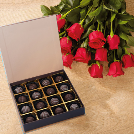 Chocolates and Hand Tied Red Rose Bouquet: Flowers and Chocolates