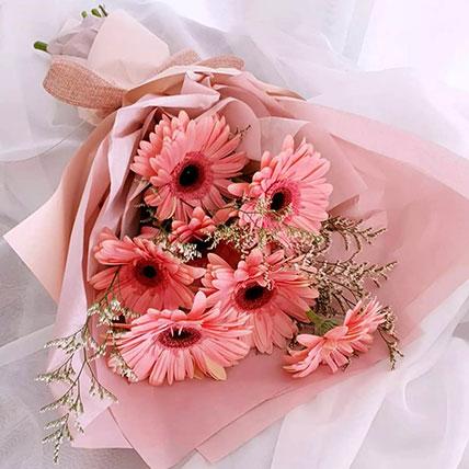 Elegant Pink Gerberas Beautifully Tied Bouquet: Gerberas Bouquet