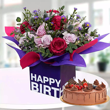 1 Kg Chocolate Cake With Birthday Flower Arrangement: Flowers and Cake