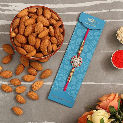 American Diamond Floral Rakhi And Healthy Almonds: American Diamond Rakhi