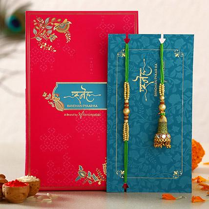 Ethnic Green Pearl And Lumba Rakhi Set: Ethnic Rakhi