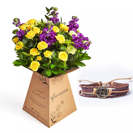 Friendship Band and Flower in Box: Flowers for Friendship Day