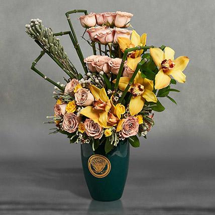 Cymbedium and Roses Beauty: Vase Arrangements