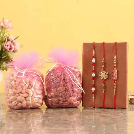 Designer Rakhis & Dry Fruits: Set of 3 Rakhi