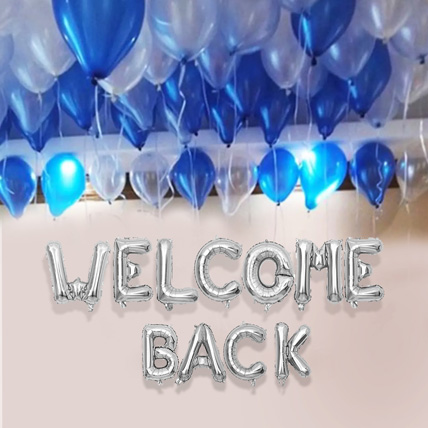 Welcome back Blue and Silver Balloon Decor: Welcome Back Gifts