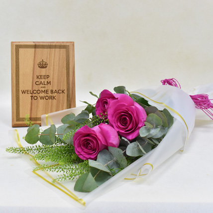 Roses and wooden Engraved Plaque: Welcome Back Gifts