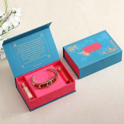 Om Rudraksha Bracelet Rakhi N Almonds: Rakhi Bracelet