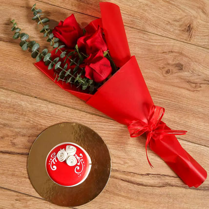 Red Roses Bouquet and Mono Cake Combo: One Hour Delivery Flowers
