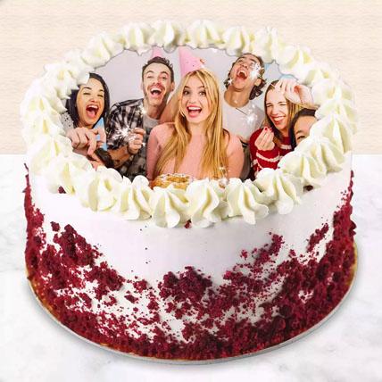 Red Velvet Photo Cake For Birthday: New Arrival Cakes