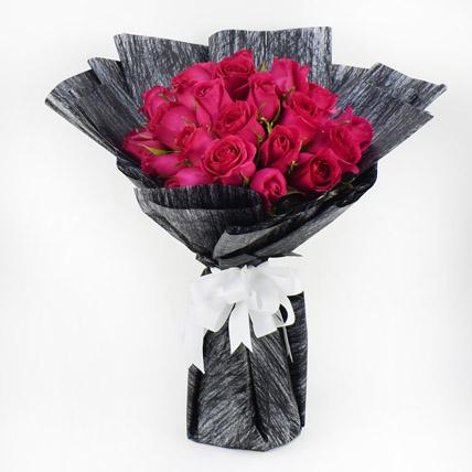 35 Dark Pink Roses Bouquet: Karwa Chauth Gifts