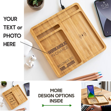 Personalized Bamboo Wireless Charger Docking Station: Personalised Accessories