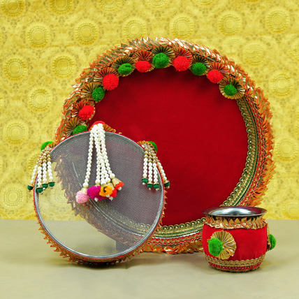 Designer Karwachauth Thali Set: Karwa Chauth Gifts