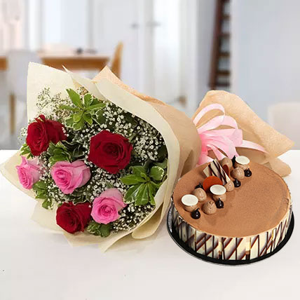 Gorgeous Roses Bouquet With Triple Chocolate Cake OM: Valentines Gifts Delivery in Oman
