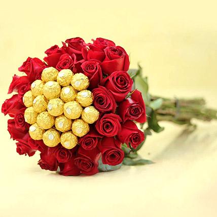 Ferrero Rocher And Rose Arrangement: