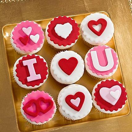 I Love U Designer Vanilla Cupcakes Set Of 9:  Cake Delivery In Pakistan