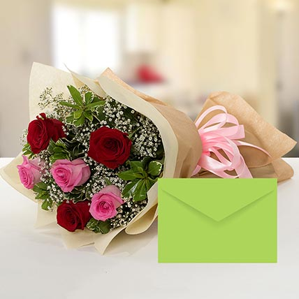 Attractive Roses Bouquet With Greeting Card QT: