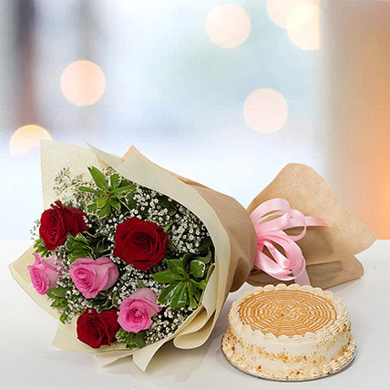 Delightful Roses Bouquet With Butterscotch Cake QT: Send Gifts to Qatar