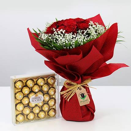 Red Roses Bunch & Ferrero Rocher: