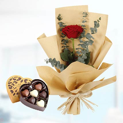 Red Rose Paper Wrap & Godiva Chocolates: