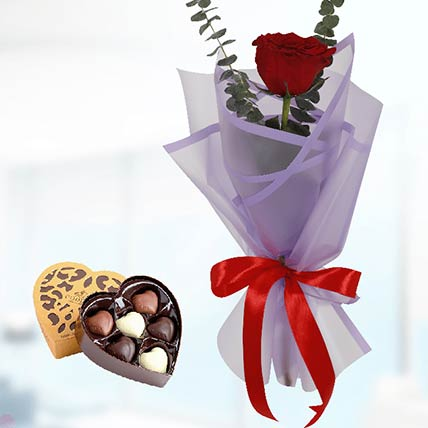 Red Rose Purple Wrap & Godiva Chocolates: