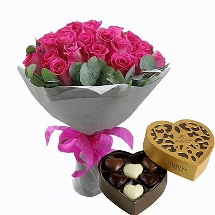 Dark Pink Roses Bunch & Godiva Chocolates: