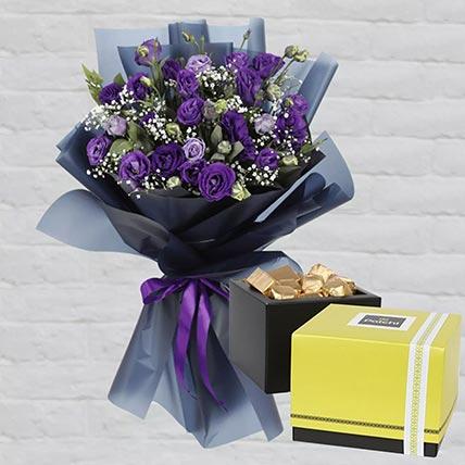 Purple Lisianthus & Patchi Chocolates: