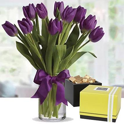 Royal Purple Tulips & Patchi Chocolates: