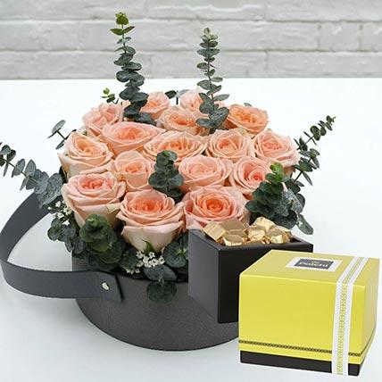 Sweet Pink Roses & Patchi Chocolates: