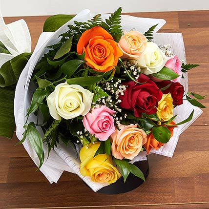 12 Mixed Color Roses Bouquet: