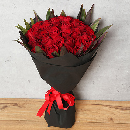 50 Red Roses Bouquet With Black Wrapping: