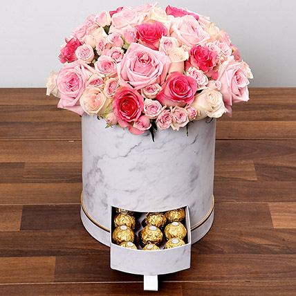 Box Of Pink Roses And Chocolates: