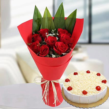 Red Roses Bunch & White Forest Cake: Valentines Gifts Delivery in Saudi Arabia
