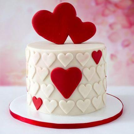Valentine Hearts Chocolate Fondant Cake: Cake Delivery in Saudi Arabia