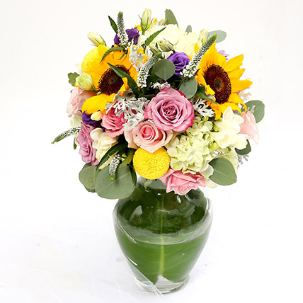 Vivid Roses and Sunflower Mixed Flower Vase SG: Gift Delivery Singapore