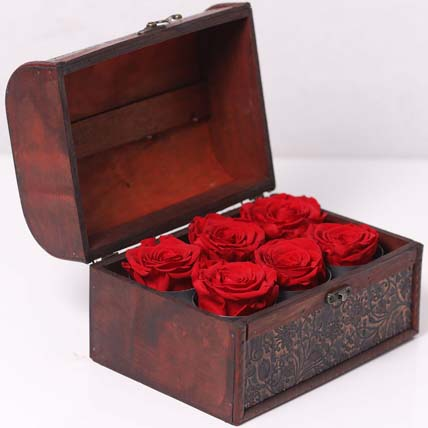 6 Red Forever Roses In Treasure Box for Valentines: