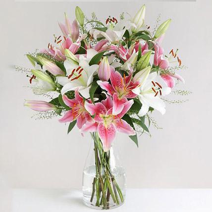 Mixed Oriental Lilies Vase Arrangement:  Gifts UK