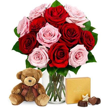 One Dozen Valentine Red & Pink Roses With And A Bear: Gifts For USA