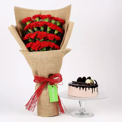 20 Red Carnations and Chocolate Cake