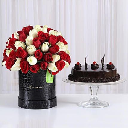 80 Red and White Roses Box with Truffle Cake