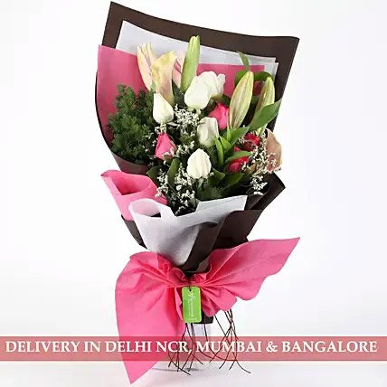 Mesmerizing Roses and Lilies Posy
