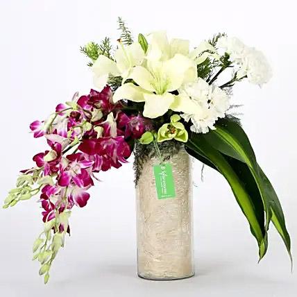 Orchids and Carnations Vase Arrangement