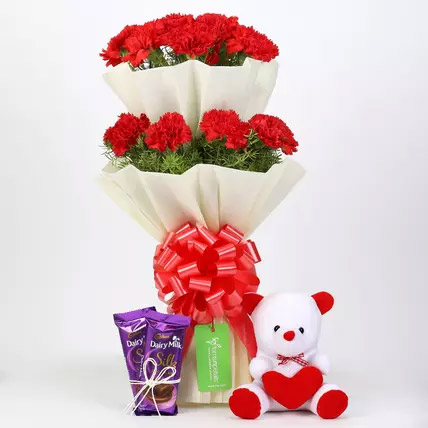 Red Carnations with Dairy Milk Silk and Teddy Bear