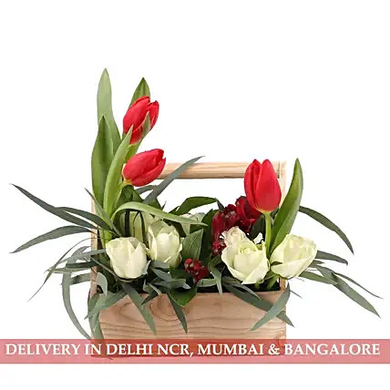 Roses, Alstroemeria and Orchids in Basket