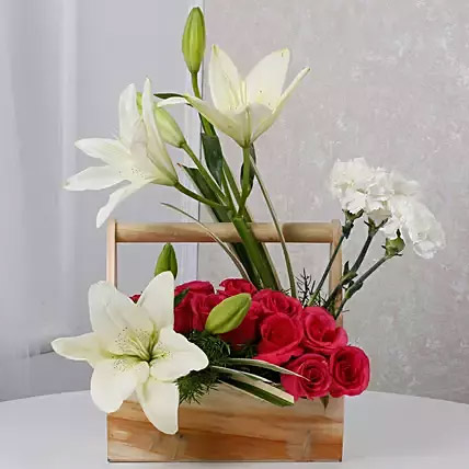 White N Pink Floral Wooden Arrangement
