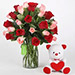Red and Pink Roses With Teddy Bear