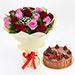 20 Bunch Of Roses & Fudge Cake