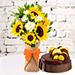 Sunflower Galore Bunch With Fudge Cake